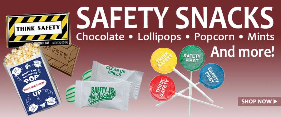 Safety themed snacks for employee breaks.  Add your logo or use one of our safety designs.  Popcorn, lollypops, chocolate bars, and much more.