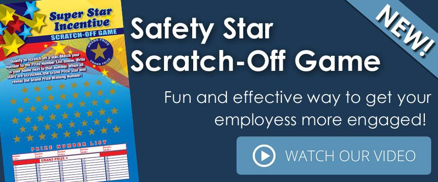 Scratch-off Poster game for safety engagement.