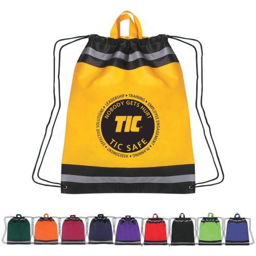 AD010679 Oversized Reflective Drawstring Backpack