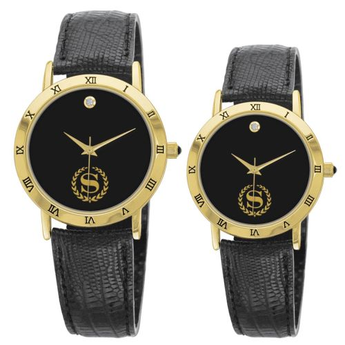 AD011731 18K Gold Leather Band Watch