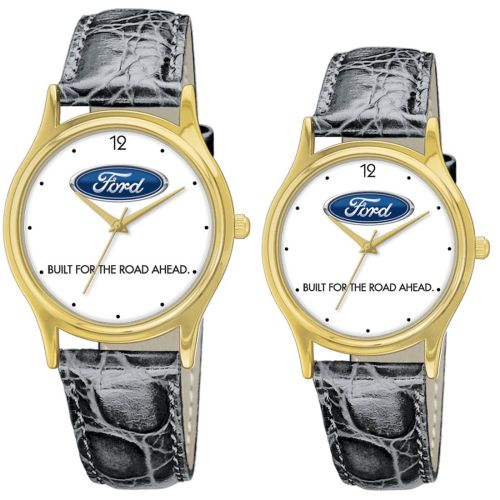 AD011736 18K Gold Leather Band Watch
