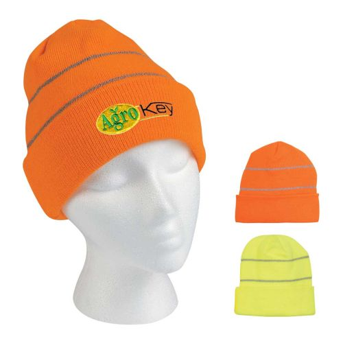 Hii-Vis Knit Beanie With Reflective Stripes