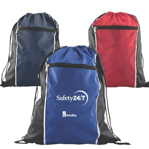 AD012514 Zippered Drawstring Backpack