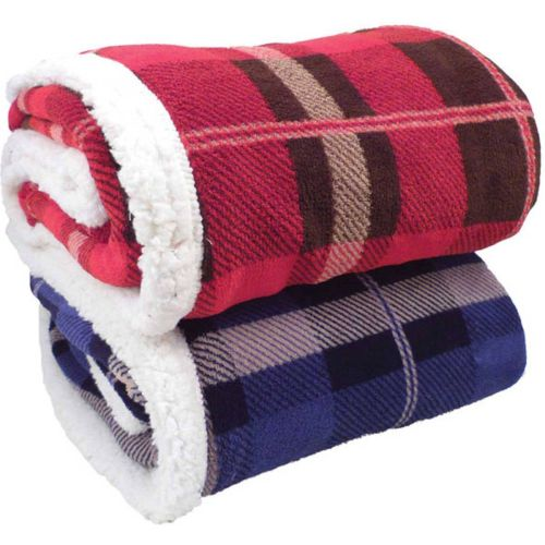 AD012677 Lambswool Microsherpa Plaid Throw Blanket
