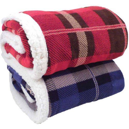 AD012677 Lambswool Microsherpa Plaid Throw Blanket